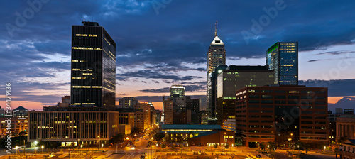 Indianapolis skyline at sunset.