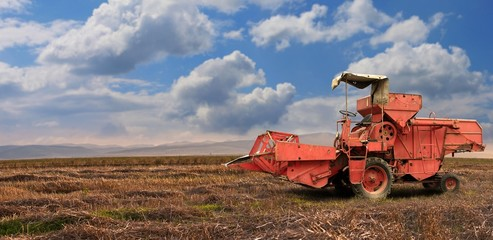 A red old combine