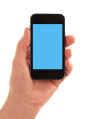 Smart Phone straight on with oblong blue screen square to page