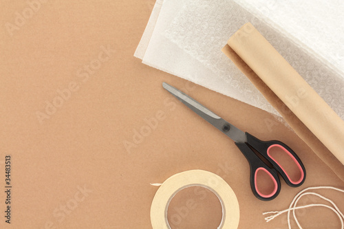 Packaging Materials with Scissors - 34483513