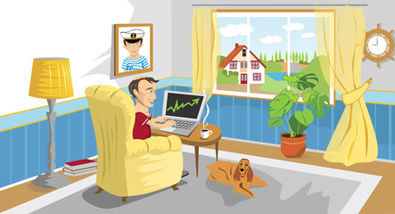 Man working with PC at home