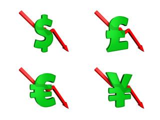 Financial crisis dollars down