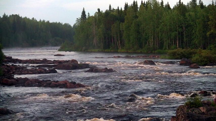 rough river flows through the forest. Scandinavia, loop