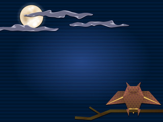 background with owl and full moon