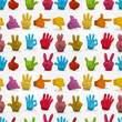 Cartoon Hands seamless pattern.