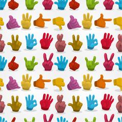 Cartoon Hands seamless pattern.