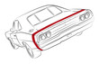 Muscle car with red stripe vector drawing