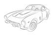 Luxury european sport oldtimer vector drawing