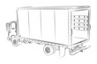 Open delivery truck vector drawing