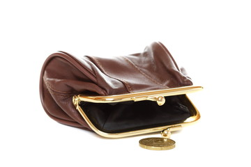 Empty purse and coin on a white background.