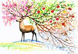 Deer-four seasons.