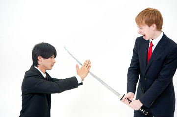 a businessmen fighting