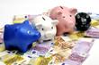 Sparschweine stehen auf Euroscheinen