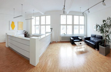 Modernes Loft Raum mit Tresen und Sitzecke