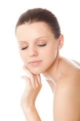 closeup face young woman with healthy clean skin and closed eyes