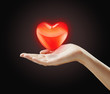 Red  heart on a woman's hand.Heart on the palm - love symbol