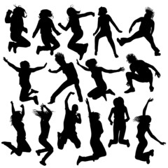 vector jumping and flying people silhouettes 2