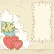 Abstract hearts with bouquet flowers and banner