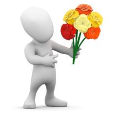 3d Little man presents a bouquet of flowers