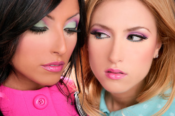 blonde and brunette women barbie pink style makeup
