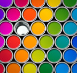 Fototapety Color paint tin cans palette, one empty can