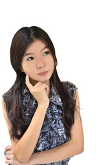 Asian woman thinking on white background