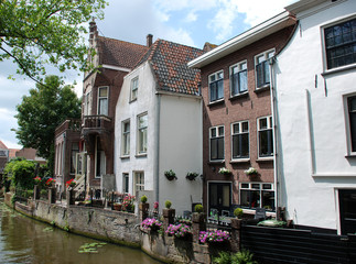 Houses along a canal in The Netherlands.