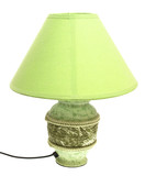 Tabletop green lamp on a white background poster