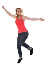 Pretty Blond Girl Jumping for Joy