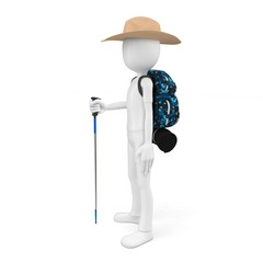 3d man mountain climber tourist with a backpack