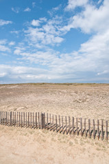 Dunes landscape with fence near Quiberon on Cote Sauvage