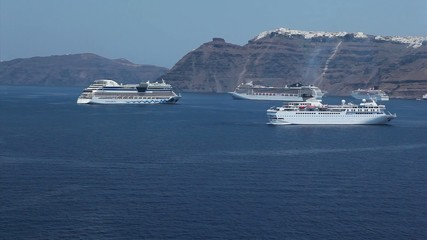 Cruiseships docked tendered at santorini island
