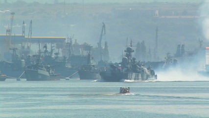 Russian warship in motion