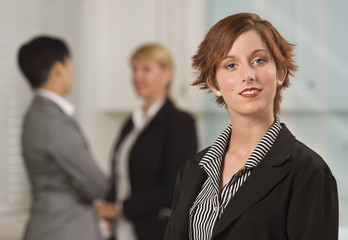Pretty Red Haired Businesswoman with Colleagues Behind