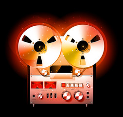 Glowing Reel To Reel Stereo Tape Deck Recorder