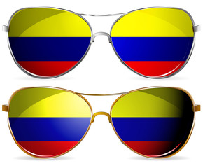 abstract Colombia sunglasses isolated on white background