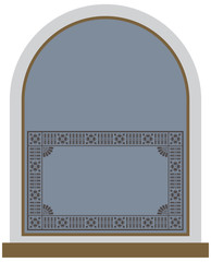 An arched ornate window and frame