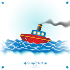 Beautiful Vector Steamboat Illustration