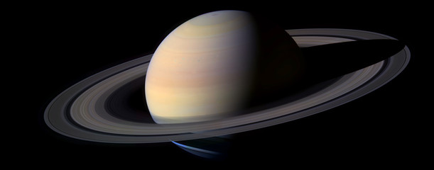Planete Saturne Fond Noir - Saturn Planet - Black Background