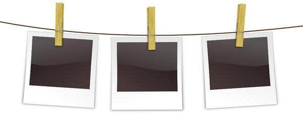 Polaroids auf Wäscheleine
