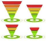 inverted pyramid, marketing conversion funnel diagram
