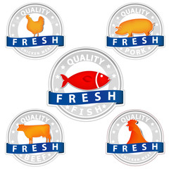 pork beef chicken and fish quality meat sign isolated in white