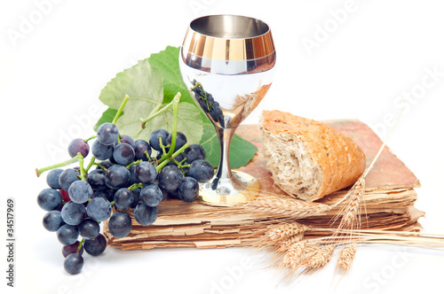Holy communion elements on white background