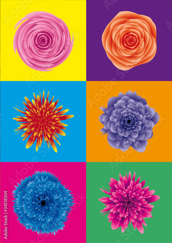 Panel Szklany flower power / blumen pop art