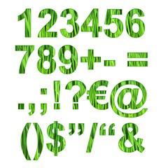 Chiffres et ponctuations herbe vert