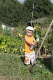 Boy in garden.