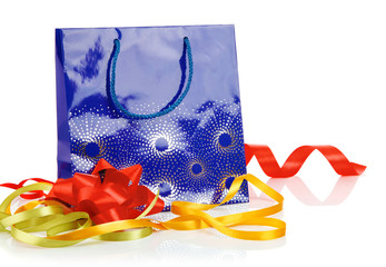 gift bag with bow and ribbon
