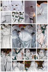 Nazarenos, costaleros y penitentes en blanco.