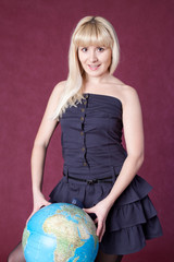 The girl with the globe