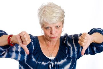 Elderly woman thumbs down
